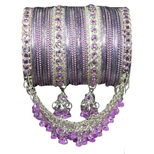 Lavender Indian Kanch Jhumka Bangle