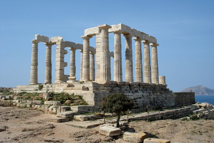 CLASSICAL PERIOD OF GREECE; Temple of Poseidon, Cape Sounion, near Athens, 440 BC # The temple of Poseidon was constructed in 444-440 BC, over the ruins of a temple dating from the Archaic Period. It was Built in the same period and to similar plan of the Temple of Hephaistos in the Agora of Athens.#