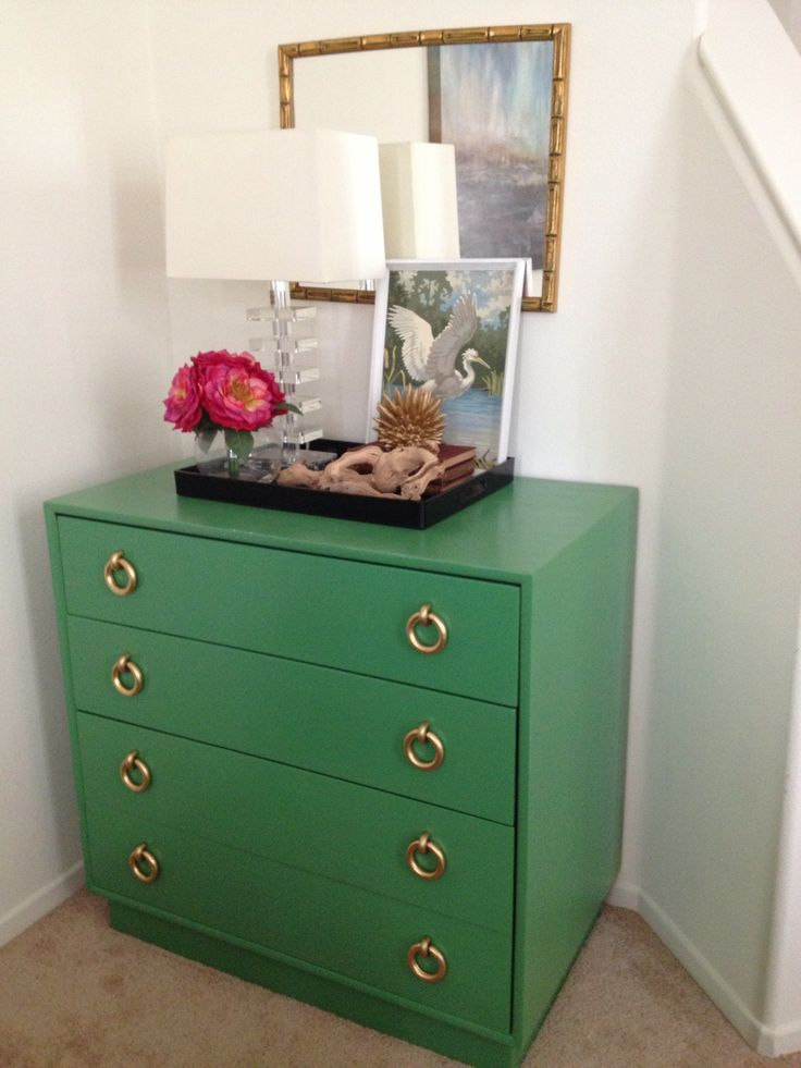 Vintage chest painted in Benjamin Moore - Bunker Hill 566