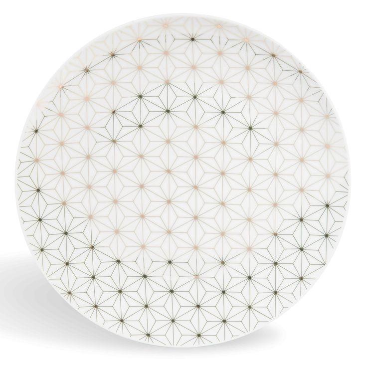 Assiette plate en porcelaine blanche/dorée D 27 cm CÉLESTE - Vendu par 6