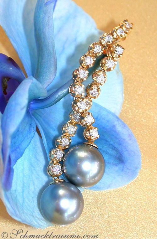 Long Diamond Earrings with 12mm Tahitian Pearls, 1.64 ct. G-SI YG18K - Visit: schmucktraeume.com