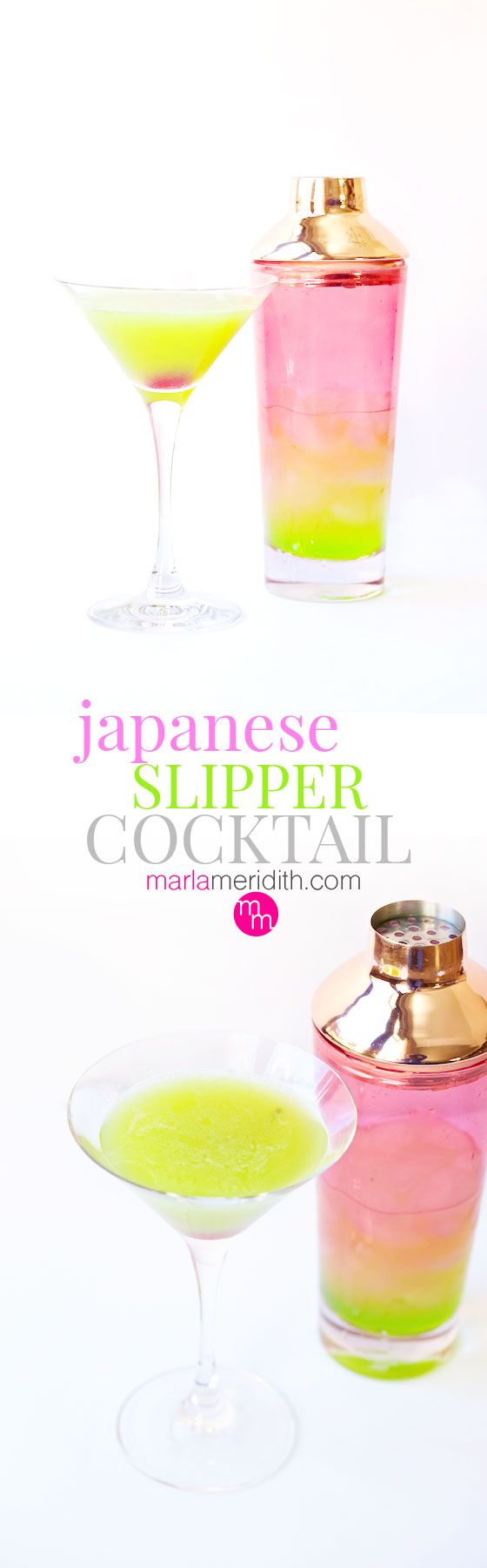 How pretty & festive is this Japanese Slipper Cocktail? Get the recipe on MarlaMeridith.com ( @marlameridith )