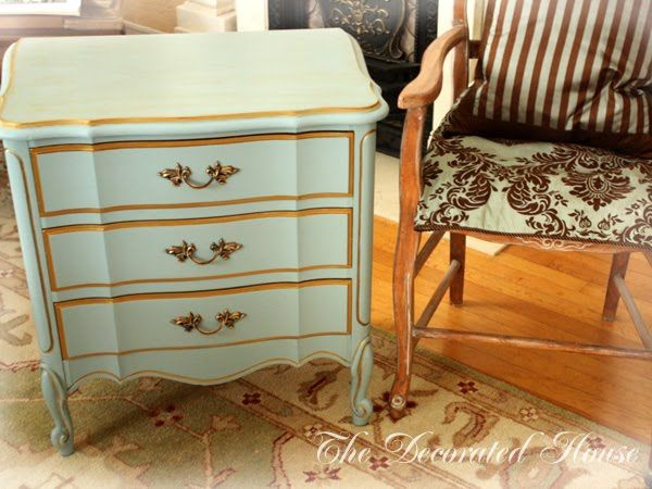 the decorated house blue french provincial nightstands makeover