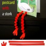 Spring postcard with a stork