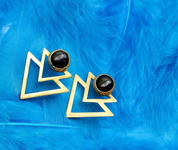 gold triangles drop earrings egypt gold black onyx by annoushe