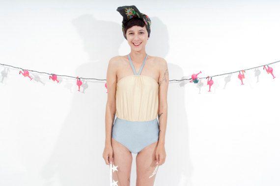 Rétro inspiré un morceau un maillot de bain sans par ANNAKSHOP, $45.00