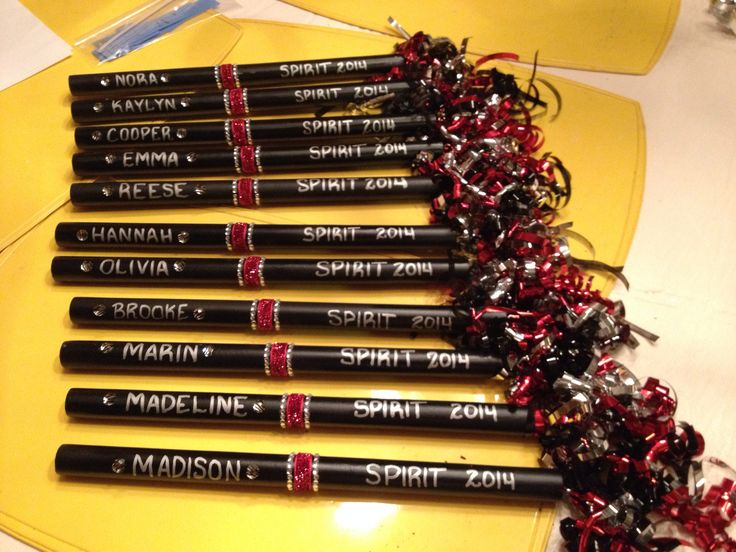Spirit sticks for our cheerleading squad.