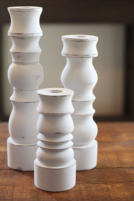 These beautiful Candlestick holders are handcrafted from solid wood and finished any way you would like. The candlesticks in the photos are our