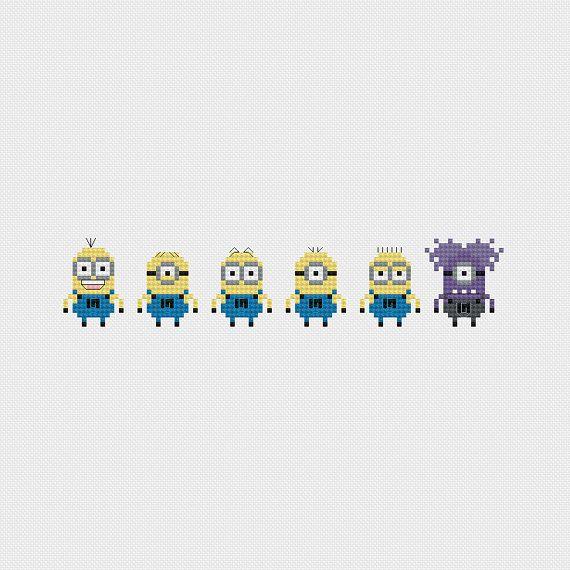 Despicable Me Minion Minis Cross Stitch by pixelsinstitches, $4.00
