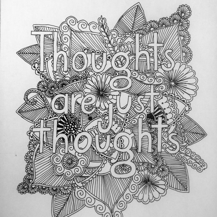 Thoughts are just thoughts coloring page for intrusive thoughts.
