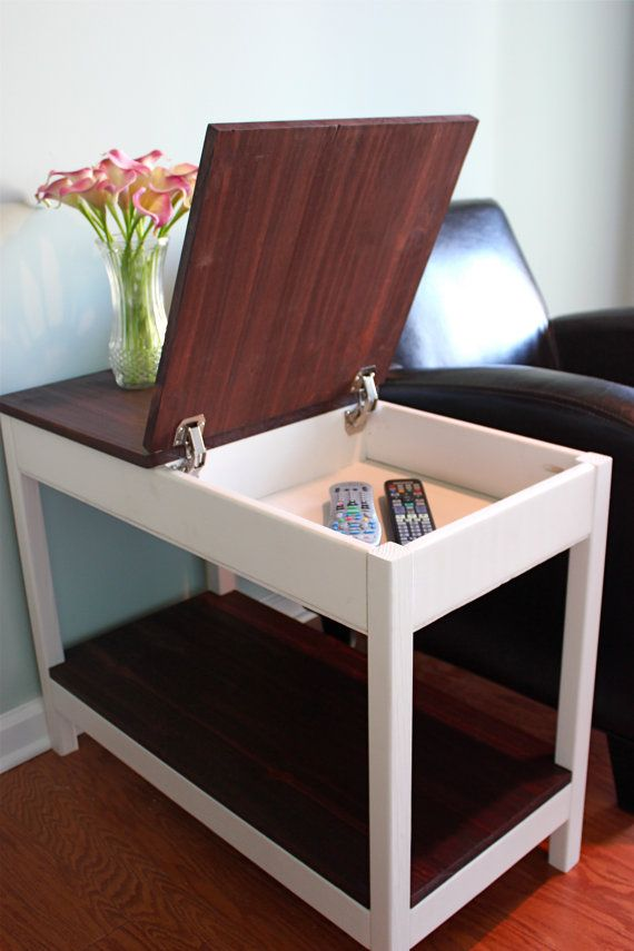 hidden storage side table by on etsy