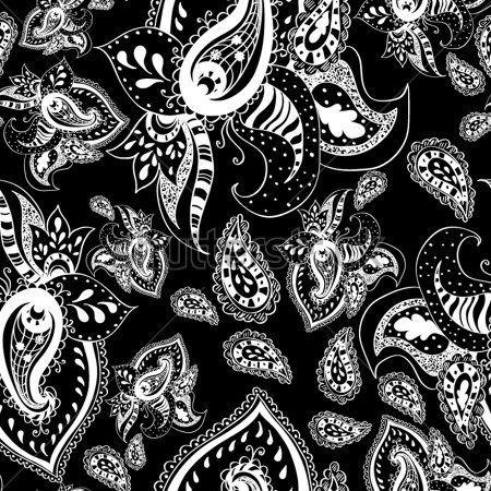 Blanco Y Negro Patrón Antecedentes Con Hojas Y Flores Diseño Floral DE Paisley imágenes prediseñadas (clip arts) - ClipartLogo.com