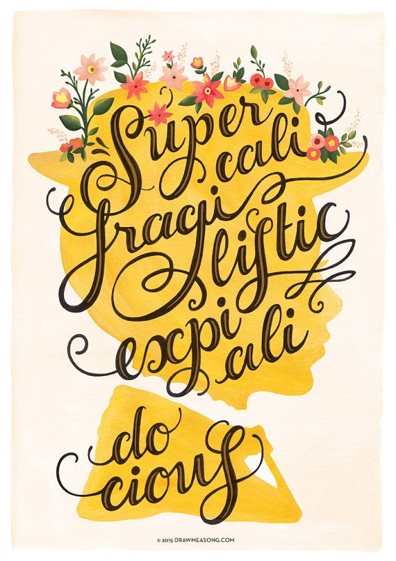 Supercalifragilisticexpialidocious print created from a gouache painting, based on the soundtrack of the 1964 Disney musical film Mary Poppins.  ------  SIZES: • A3 Print = 42 x 29.7 cm = 16.5 x 11.7  (approximately) • A4 Print = 29.7 x 21 cm = 11.7 x 8.3  (approximately)  PAPER: High-quality coated paper (170 g/m2) FINISH: Matte  Frame is not included in purchase. Prints do not come signed, but you can request a signature if you wish!  SHIPPING: • Big prints (A3) ar...