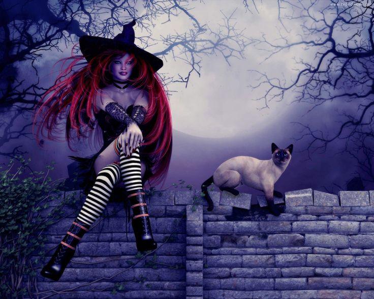 Halloween, Kobieta, Czarownica, Kot