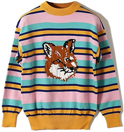 Best Seller Harajuku Contrast Color Block Striped Sweater Wolf Jacquard Knit Slim Tops Sweater online