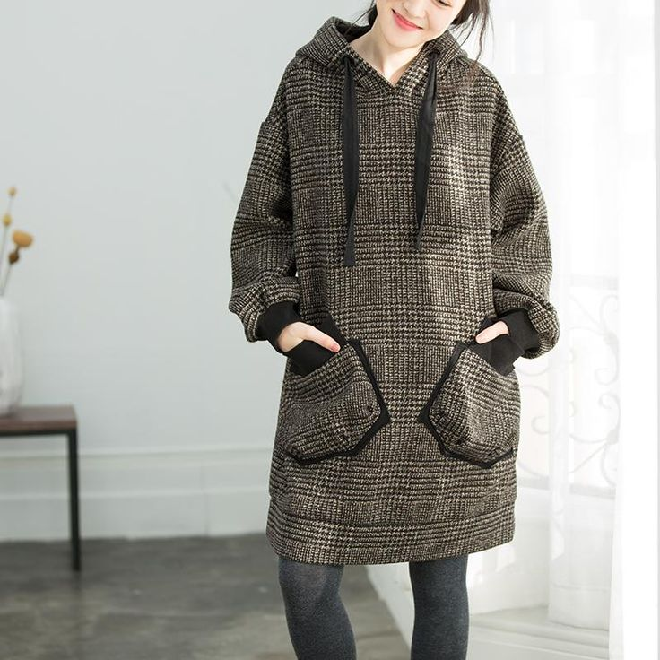 Vintage Loose Warm Thick Plaid Dress