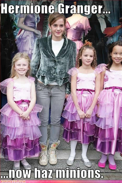 They're all wearing her Yule Ball dress! Aww!