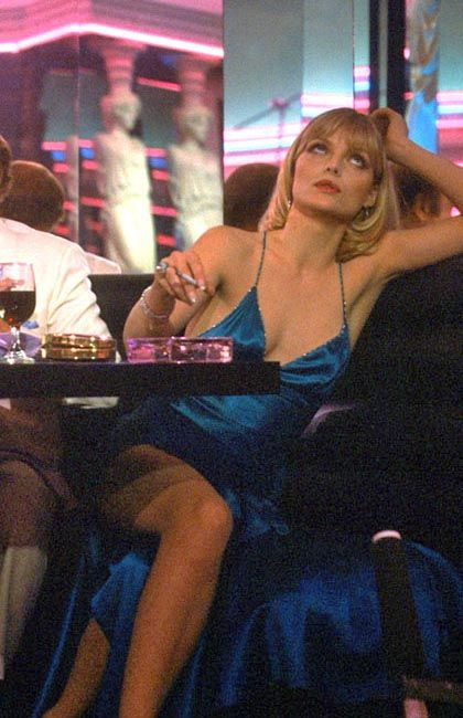 Michelle Pfeiffer in Scarface (1983) puts in a great turn as sexy enervated cocaine addicted glacial trophy girlfriend of Tony Montana