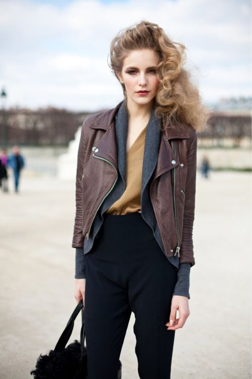 : Fashion, Street Style, Outfit, Leather Jackets, Fall Winter, Hair, Wear