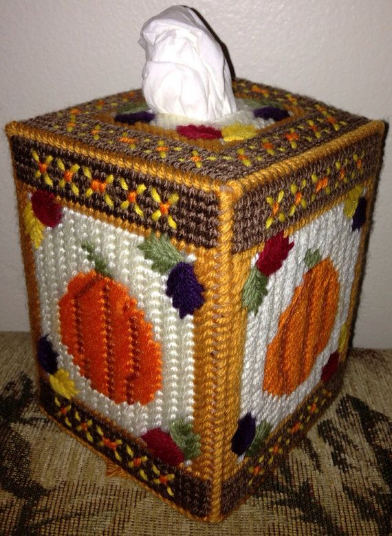Fall Pumpkin And Leaves Tissue Box Cover Beautiful Thanksgiving And Pumpkins
