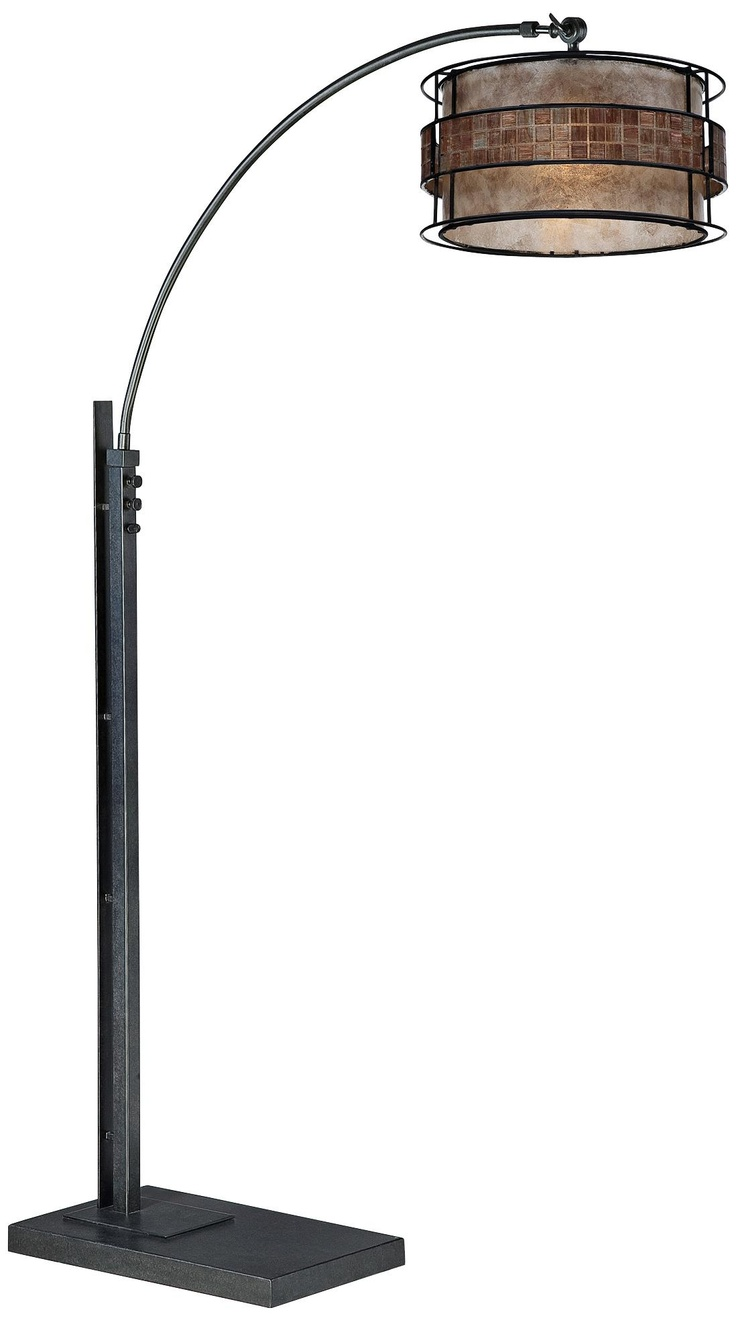 quoizel mica bronze and black finish arc floor lamp. Black Bedroom Furniture Sets. Home Design Ideas