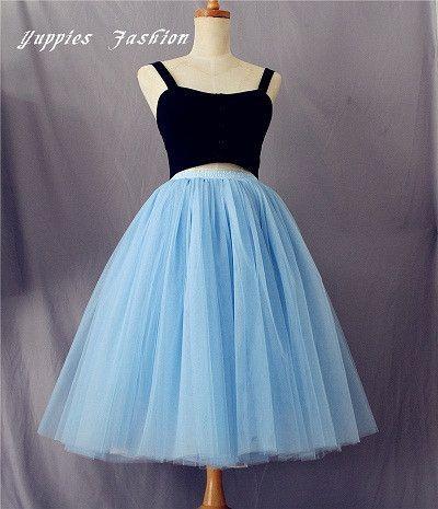 Custom Made 7 Layer Midi Tulle Skirt American Apparel Tutu Skirts Womens Petticoat Elastic Belt