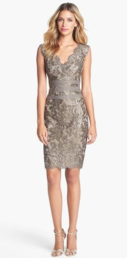 OMGosh. I die. Embellished Metallic Lace Sheath Dress