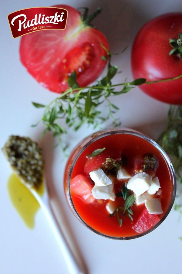 Orzeźwiający chłodnik z pomidorów z pesto.  #pudliszki #przepis #wegetariańskie #gazpacho