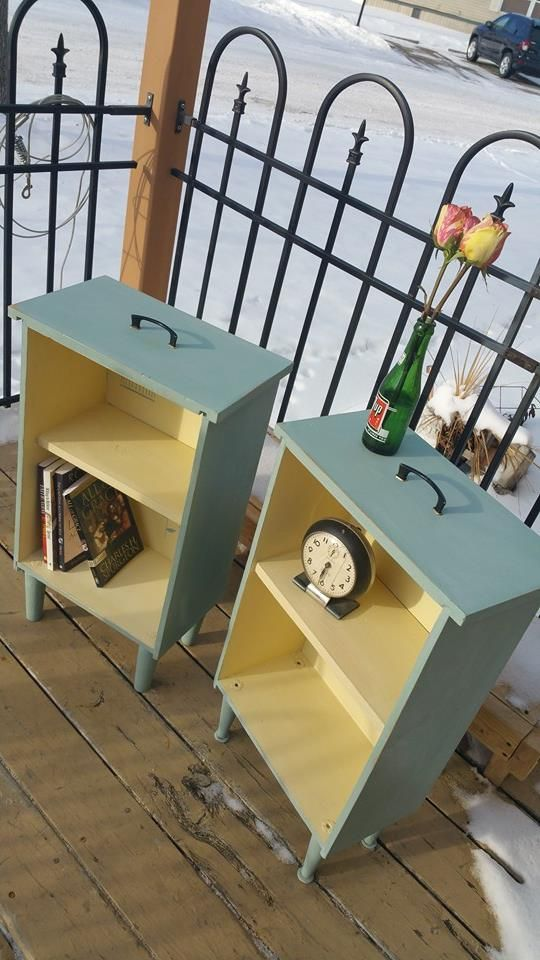 We rescued some large mid century drawers and turned them into bright side tables. Finished in Duck Egg and Cream with flower and bird house…
