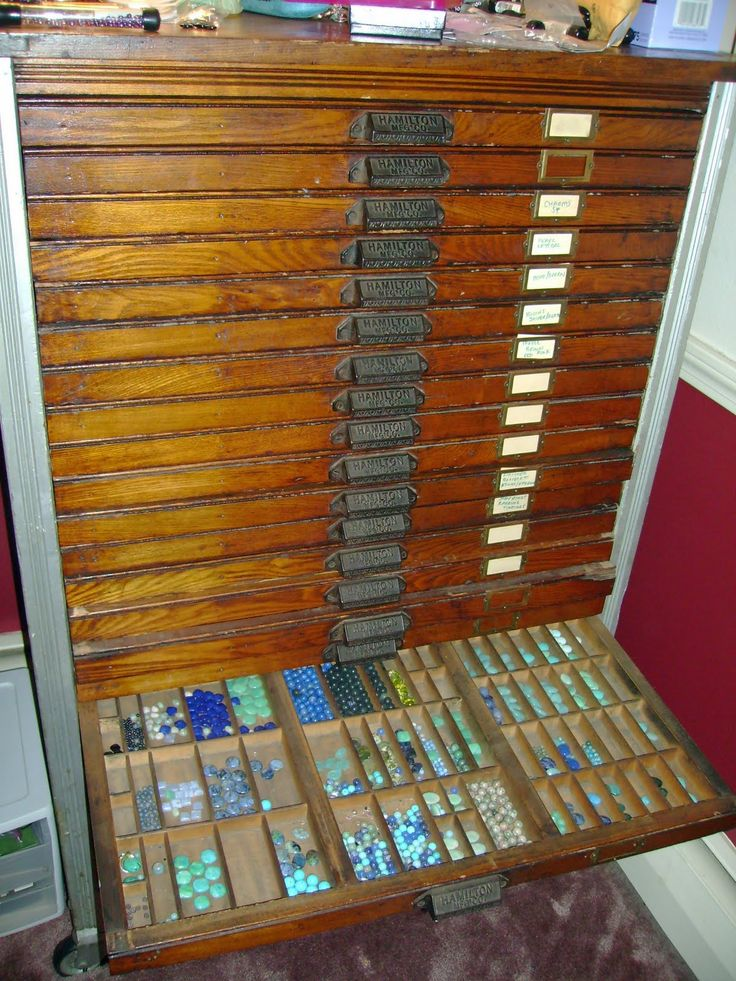 OH I WOULD LOVE TO HAVE THIS   antique typesetter's cabinet...now, jewelry storage extraordinaire!!