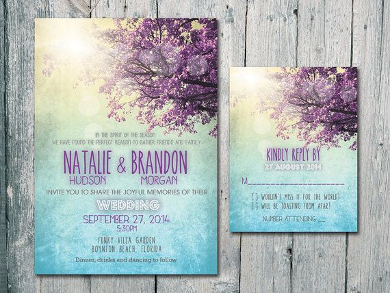 Digital - Printable Files - You are My Sunshine - Summer Wedding Invitation and Reply Card Set - Wedding Stationery - ID401
