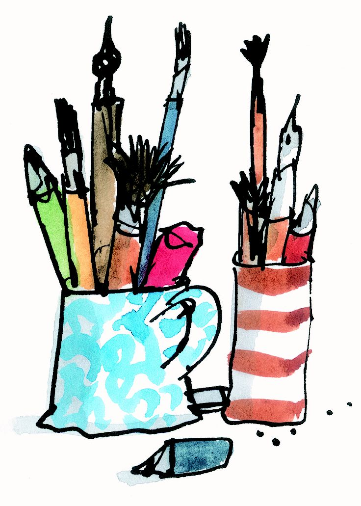 Quentin Blake illustrations- His tools. I like this one because the artist shows the smallest amount of detail on the tools to make them look realistic. This creates texture within the piece because you already know what these tools feel like and what they are primarily used for.