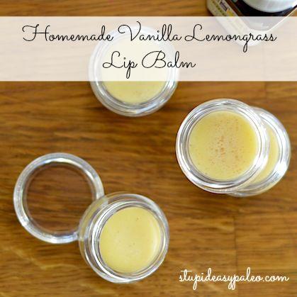 VANILLA LEMONGRASS LIP BALM - 3 Tbsp beeswax, 3 Tbsp coconut oil, 2 Tbsp shea butter ,1/4 tsp raw honey, 1/8 tsp vanilla extract, 8–10 drops lemongrass essential oil