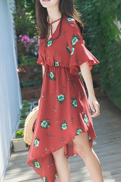 The dress is featuring v neck, pullover styling, short flare sleeve, floral printed and irregular hemline. hey're not gonna believe their eyes.ONLY $25.99