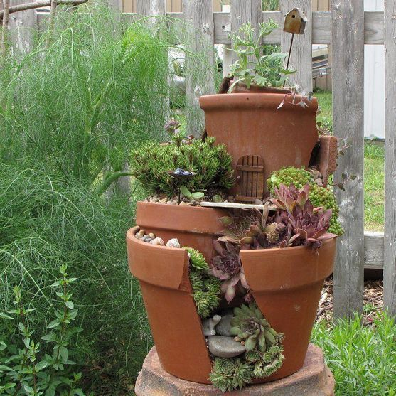 Don't fret over those precious broken pots!  Create an interesting Fairy garden and place it in an unexpected area of your gardens for it to be discovered.