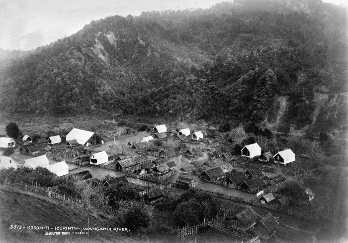 Aerial view of Koriniti Marae in the 1800s