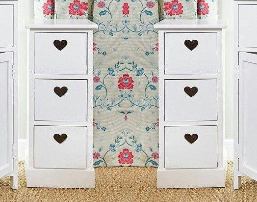 Pair Slim White Bedside Cabinets 3 Love Heart Drawers