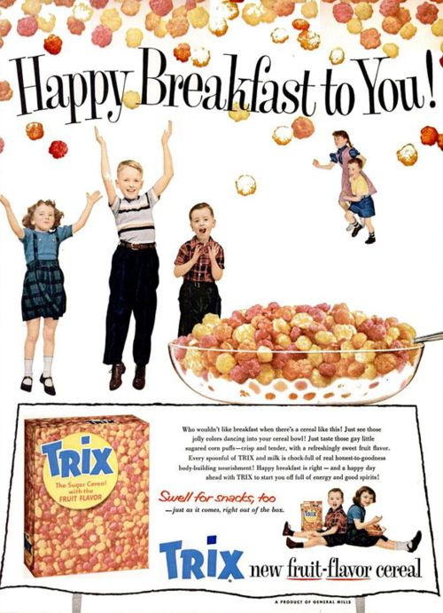 General Mills Trix Fruit Flavor Cereal 1956