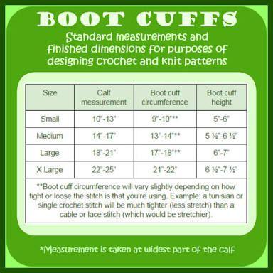 crochet boot cuff size chart - Google Search