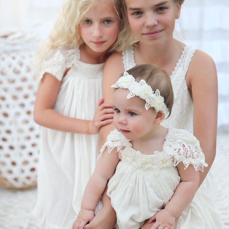 Girls boho dresses by Tea Princess  perfect for family photos, weddings, flowergirls, communion