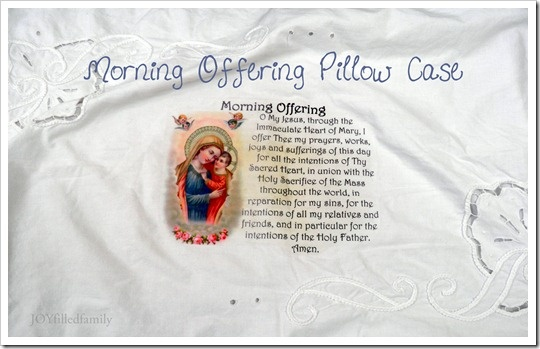This is a great idea from JoyFilledFamily blog.  It is a pillow with the morning offering on it.  I think this would look beautiful printed in sepia tones on a small cream-colored pillow.  It would be amazing if you could actually stitch the words, but it is quite a long prayer.     I wonder if it would look prettier appliqued onto a pillow instead of as an iron-on....