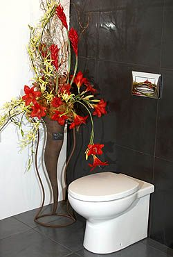 bathroom design services - toilet with wall mounted flushing