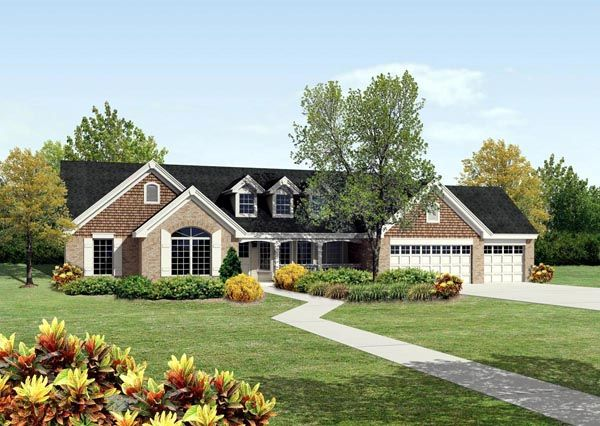 House plan 95812 cape cod country ranch traditional plan for 4 car garage ranch house plans