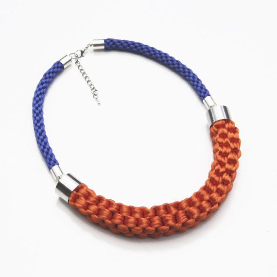 Orange and blue necklace knotted rope necklace by SophiesKnotShop