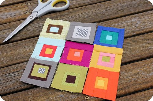 Josef Albers inspired bee blocks from Amy at Badskirt