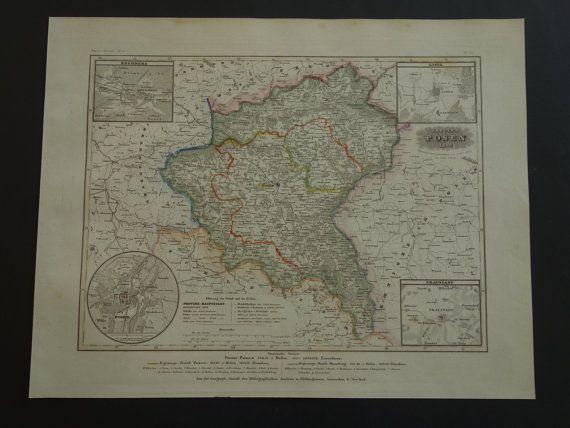 POLAND old map of Poznań 1849 original antique by VintageOldMaps
