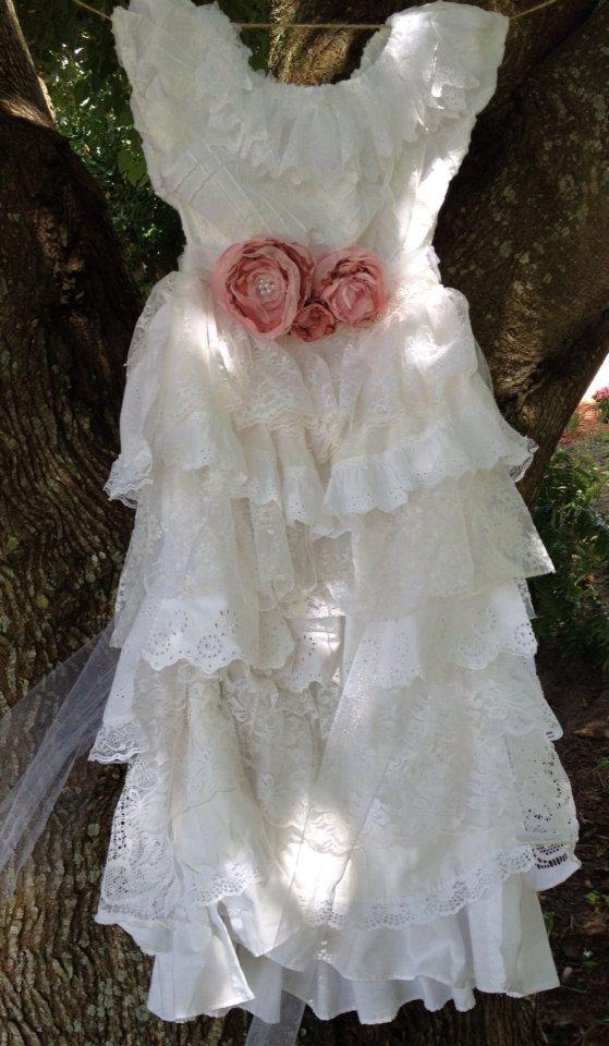 Lace+Flower+Girl+Dress+Vintage+Ruffled+FLower+Girl+by+RainRene,+$225.00