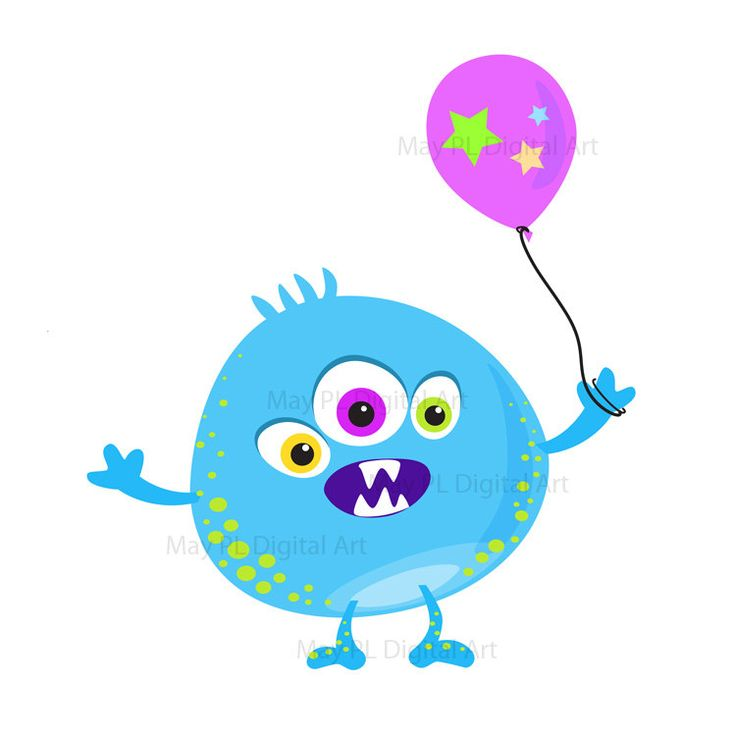 Cute Monster Clipart Kids Birthday Party Digital Little