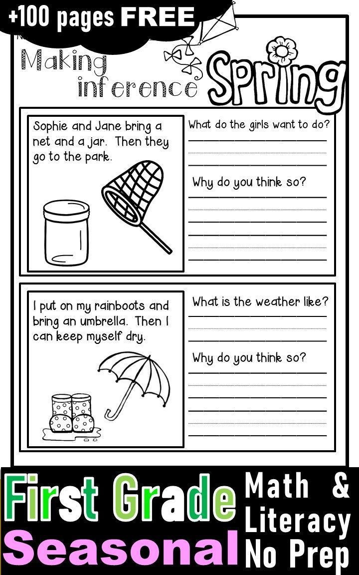 Free First Grade Activities And Worksheets With Fall Winter Spring And Winter Theme First Grade Activities Spring Math Math Literacy [ 1152 x 720 Pixel ]