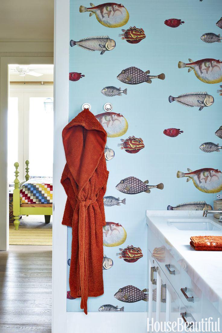 Fish wallpaper for bathroom